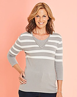 Stripe Jumper with Diamante Detail