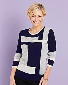 Textured Colour Block Jumper