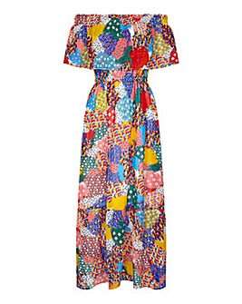 Yumi Curves Patchwork Heart Maxi Dress