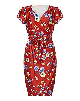 Yumi Curves Pansy Print Wrap Dress