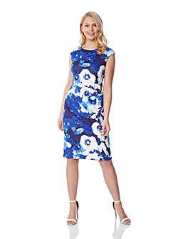 Roman Floral Fitted Scuba Dress