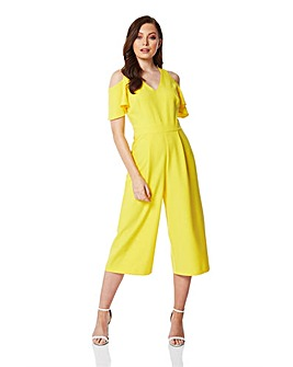 Roman Cold Shoulder Culotte Jumpsuit