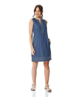 Roman  Spot Print Denim Shift Dress
