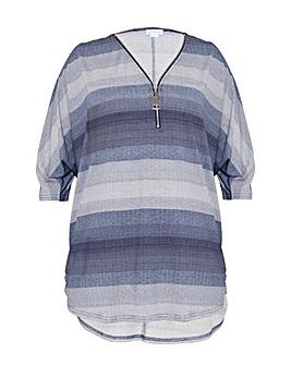Blue Vanilla Curve Striped Zip Front Top