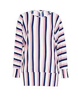 Blue Vanilla Curve Striped Batwing Top