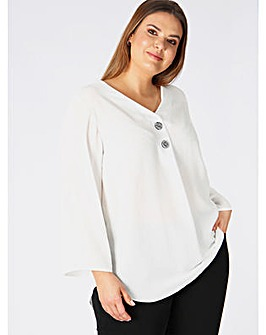 Lovedrobe GB White V-Neck Blouse