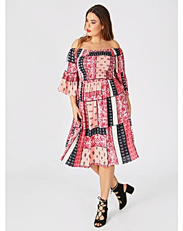 Koko Scarf Print Shirred Bardot Dress