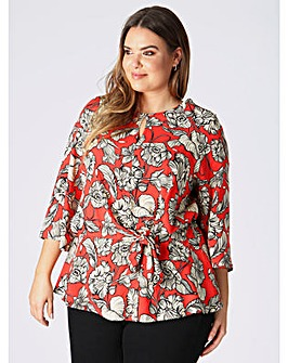 Lovedrobe GB Red Floral Knot Front Top