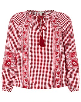 Monsoon Gia Gingham Embroidered Blouse