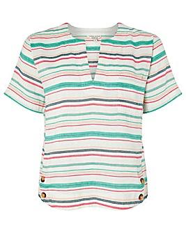 Monsoon Joslyn Linen Stripe T Shirt