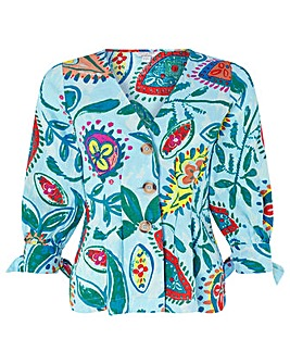 Monsoon Nelly Print Linen Top