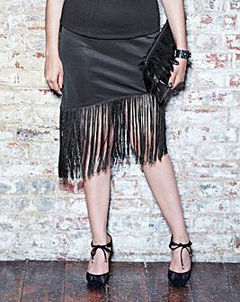 Scuba Fringe Pencil Skirt