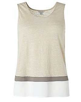 Monsoon Elaine Woven Trim Linen Top