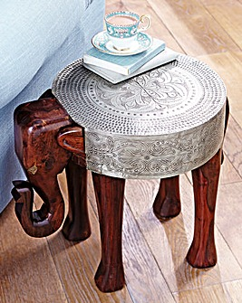 Sheesham and Metal Foil Elephant Table