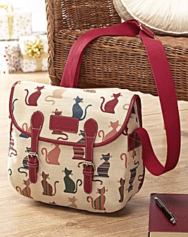 Tapestry Cat Messenger Bag