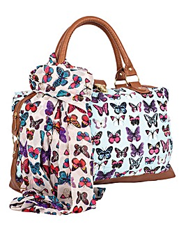 Butterfly Overnight Bag and Scarf Set