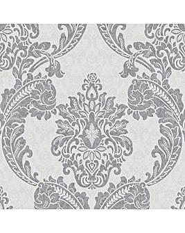 Superfresco Regent Damask Textured Glitter Grey Wallpaper