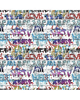 Fresco Great Value Brick Wall Effect Graffiti Print Wallpaper