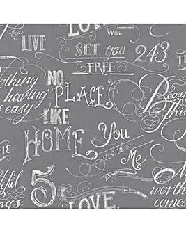 Fresco Chalk Board Effect Grey Wallpaper