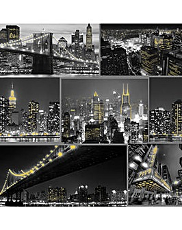 Fresco City At Night Black Wallpaper