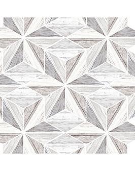 Fresco Grey Scandi Wooden Geometric Wallpaper