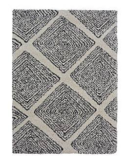 Grey Diamond Shaggy Rug Large
