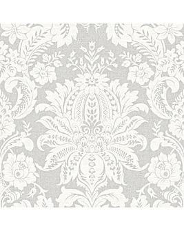 Superfresco Easy  Grey Venetian Damask Wallpaper