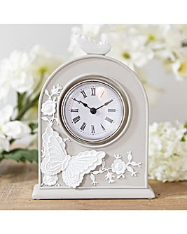 Butterfly Resin Grey Mantel Clock