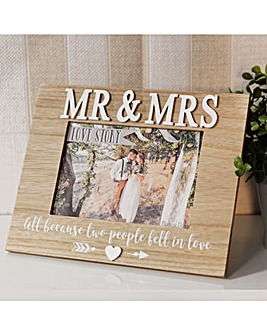 Mr and Mrs Wooden Photo Frame