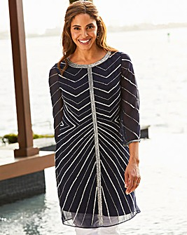 Joanna Hope Chevron Sequin Tunic
