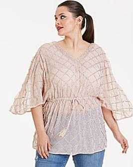 Joanna Hope Sequin Kimono Top