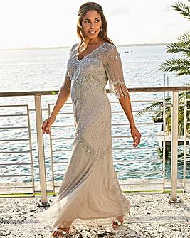 Joanna Hope Fringe Sleeve Dress