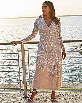 Joanna Hope Wrap Beaded Dress