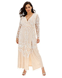 Joanna Hope Wrap Maxi Beaded Dress