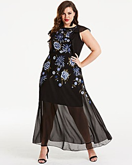 Joanna Hope Embroidered Sheer Maxi Dress