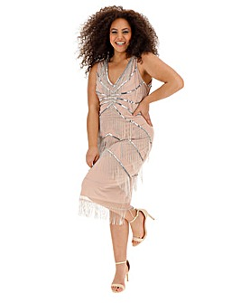 Joanna Hope Chevron Fringe Flapper Dress