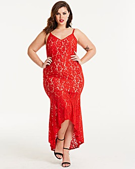 Joanna Hope Red Lace Hi Low Dress