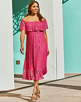 Joanna Hope Lace Bardot Midi Dress