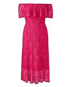 Joanna Hope Lace Bardot Midi Dress