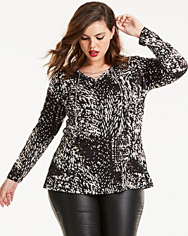 Joanna Hope Animal Print Lace Back Tunic