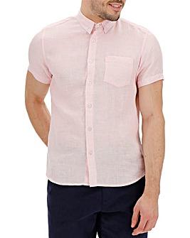 Short Sleeve Plain Linen Shirt Regular