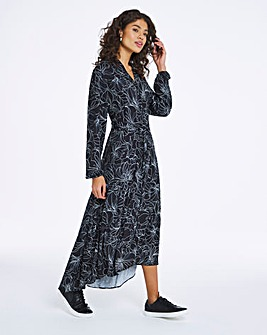 Mono Floral Print Tiered Shirt Dress