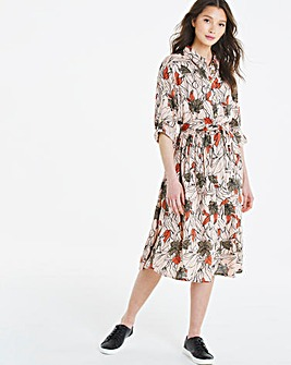 Floral Print Frill Hem Shirt Dress