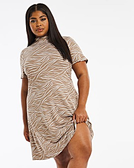 Animal Print Soft Touch Short Sleeved Swing Dress