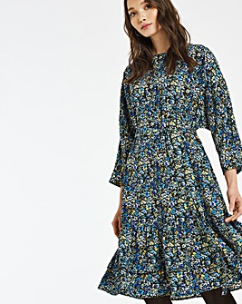 Blue Floral Button Shoulder Tiered Dress