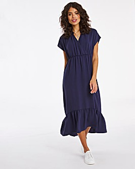 Navy Herringbone Twill Maxi Dress