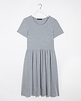 Grey Marl Jersey Midi Dress With Pockets