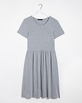 Grey Marl Jersey Midi Dress With Pockets