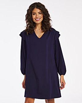 Navy V Neck Shoulder Detail Shift Dress