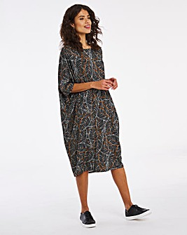 Black Printed Cocoon Jersey Dress